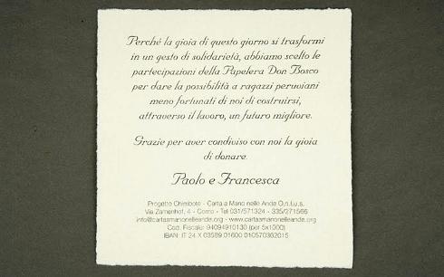Partecipazioni Matrimonio Unico Foglio.Galateo Delle Partecipazioni Ed Altro Carta A Mano Nelle Ande