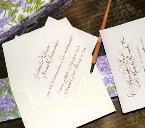Calligraphic wedding cards, walnut husk color, with envelope