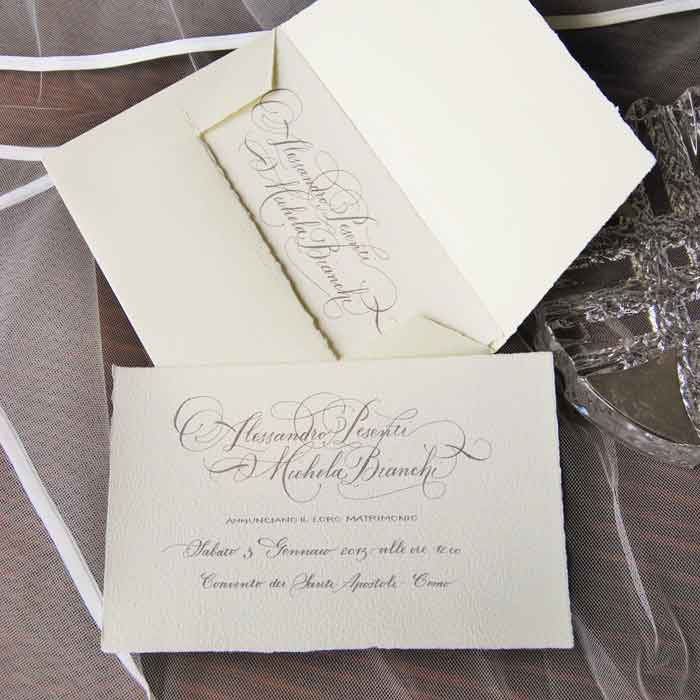 Wedding card with 'Barocco' [Baroque] style handwriting