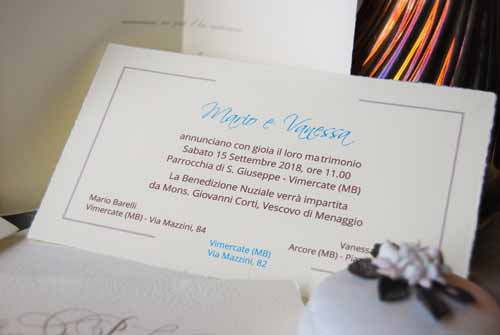 Invitation 'Sogno' with details of the ceremony
