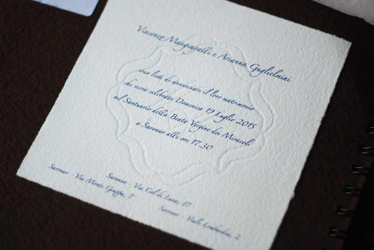 Wedding invitation, with watermarked initials and frame