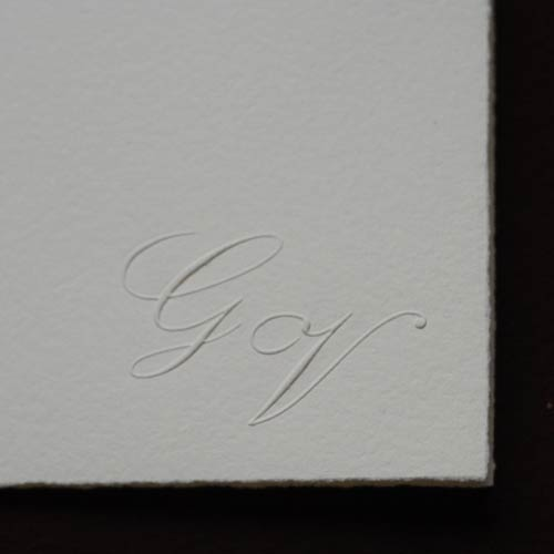 Double invitation with bottom right embossed initials